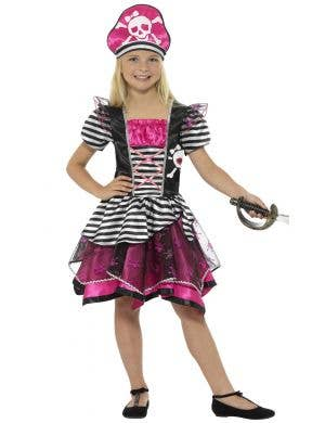 Pretty pink pirate girls fancy dress costume Image 1