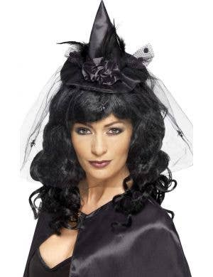 Spider Veil Mini Black Satin Witch Hat