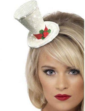 Mini White Glitter Christmas Top Hat