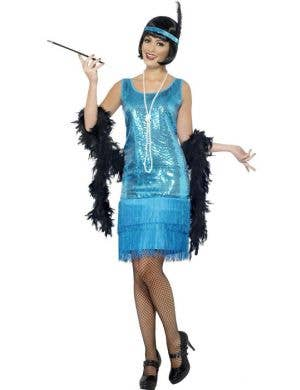 Women's Blue Sequinned Flapper Fancy Dress Costume Front
