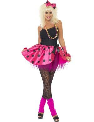 Pop Star Women's 1980's Pink and Black Tutu Headband and Gloves Costume Accessory Kit