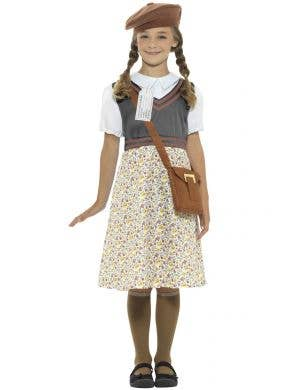 Kid's School Girl War Time Evacuee 1940's Fancy Dress Costume Front View