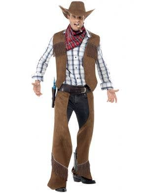 Men's Fringed Rodeo Cowboy Wild West Fancy Dress Costume Front View