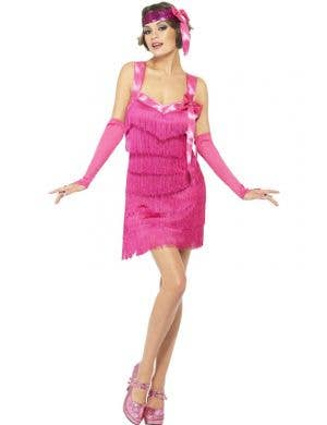 Hot Pink Women's 1920's Flapper Costume Dress Front View
