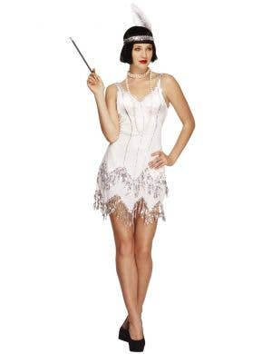 Women's White 1920's Flapper Showgirl Costume Front View
