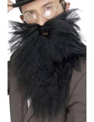 Long Black Fuzzy Beard with Moustache
