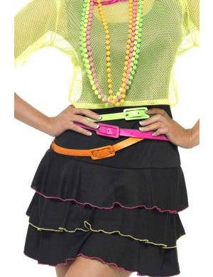 Pink, Orange and Green 3 Pack of Neon Green Costume Belts