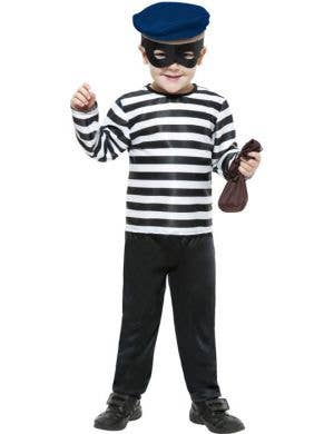 Boy's Burglar Black and White Thief Costume Front