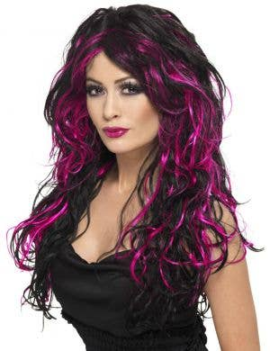 Gothic Bride Long Curly Black and Pink Wig