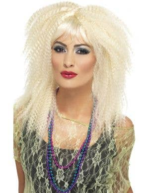 80's Trademark Crimped Blonde Costume Wig
