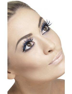 Spiderweb Blue Glitter Halloween Eyelashes