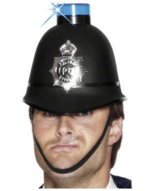 Bobby Black Police Hat with Blue Light