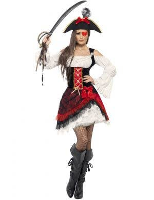 Glamorous Women's Black and Red Pirate Lady Costume Main Image