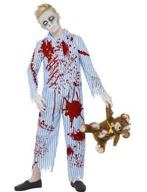 Boys Blood Splattered Zombie Pyjamas Costume Main Image