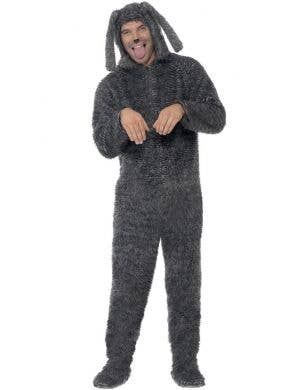 Fluffy Dog Men's Grey Costume Animal Onesie