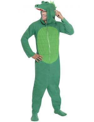 Snappy Green Crocodile Adult's Onesie Costume