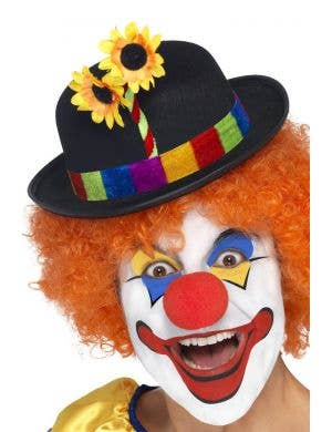 Clown Bowler Hat With Flower in Black Costume Accessory