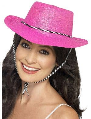 Neon Pink Women's Glitter Cowboy Hat