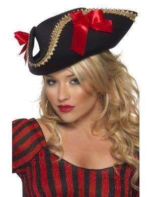 Womens black pirate costume hat with gold trim and red bows