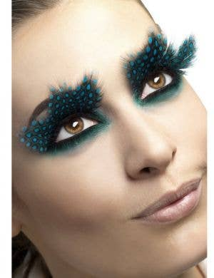 Large Feather Spotted Aqua False Eyelashes