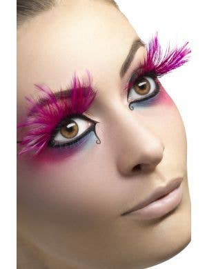 Dramatic Pink Feather Women's Large False Costume Eyelashes