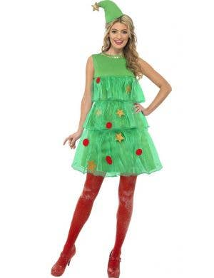 Women's Festive Green Christmas Tree Costume Front Image