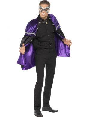 Men's Purple Phantom Halloween Costume Cape