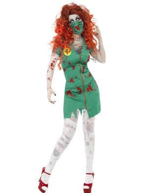 Women's Green Nurse Zombie Costume Front View