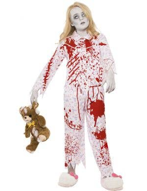 Girls Blood Splattered Zombie Pyjamas Costume Main Image