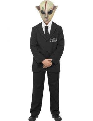 Boy's Alien Secret Agent Suit Fancy Dress Costume Front View