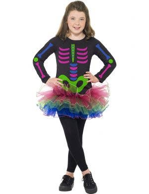 Girls Neon Skeleton Tutu Dress Halloween Costume Front View
