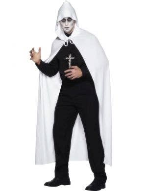Long White Adult's Hooded Cape Costume Accessory