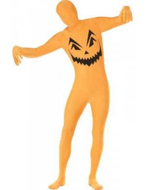 Men's Orange Pumpkin Second Skin Halloween Costume Front