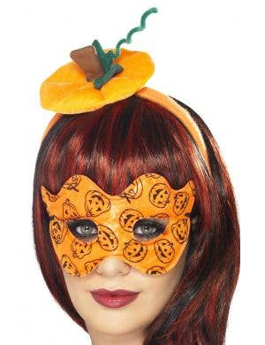 Pumpkin Mini Hat and Mask Halloween Costume Set