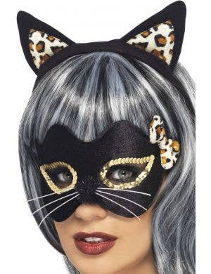 Women's Cat Ears and Mask Accessory Kit Front View
