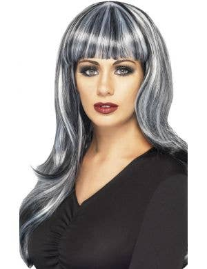 Sinister Siren Long Black and Grey Streaked Wig