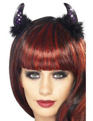 Purple and Black Fluffy Sequined Devil Costume Horns