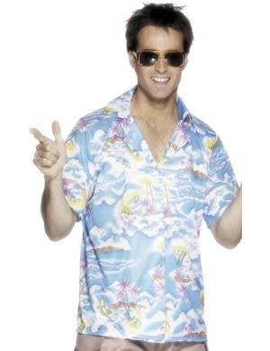 Blue Tropical Island Men's Hawaiian Costume Shirt Image 1