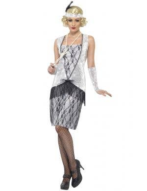 Silver Sequined Women's 1920's Gatsby Flapper Costume Main View