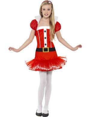Girl's Miss Santa Claus Fancy Dress Costume Front View