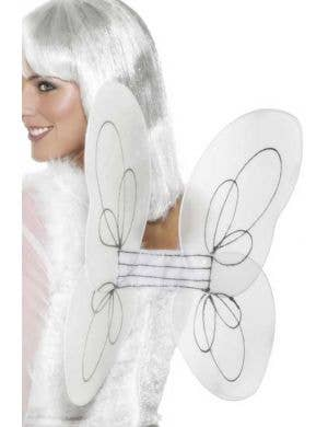 Glittery White and Silver Angel Costume Wings
