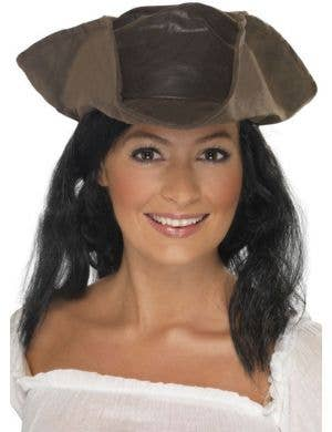 Soft Brown Leather Look Pirate Hat with Hair