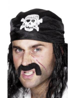 Black Pirate Unisex Skull And Crossbones Bandanna Costume Accessory Main Image