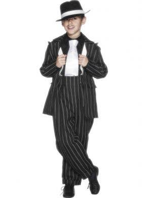 Boy's Black Gangster Mob Boss Suit Book Week Costume Front
