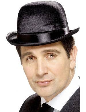 English Gentleman's Black Bowler Costume Accessory Hat