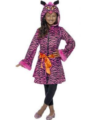 Girl's Hot Pink Zebra Print Jacket Costume Front View