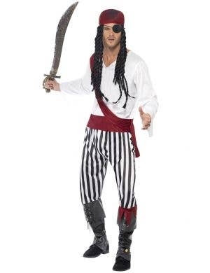 Pirate Captain Red, Black and White Men's Costume Front Image