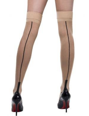 Fever Hosiery Sheer Nude Cuban Heel Thigh High Stockings with Back Seam Main Image