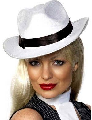 White Velour 1920's Gangster Hat with Black Band