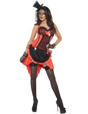 Women's Sexy Red Burlesque Costume Front View